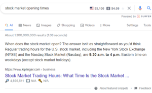 stock market opening times featured snippet