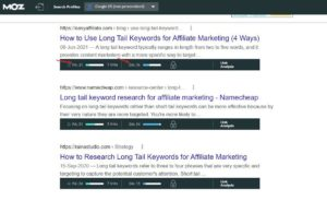 Long-Tail Keywords for Affiliate Marketing: Check the Serp